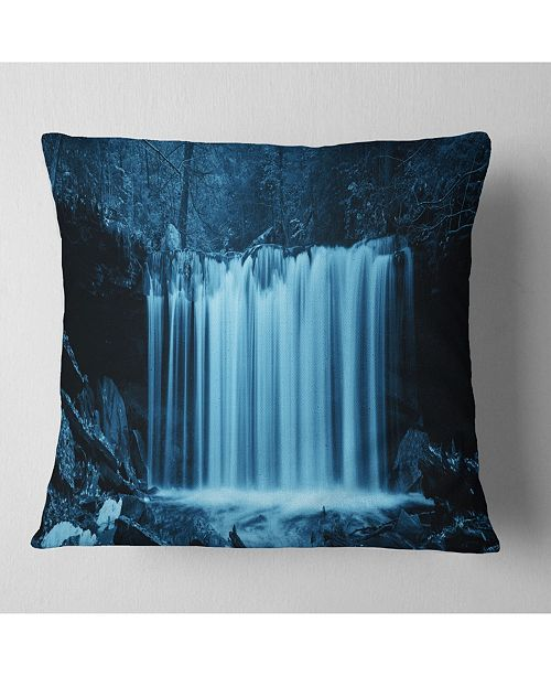 "Design Art Designart 'Waterfalls In Wood Black and White' Landscape Printed Throw Pillow - 16"" x 16"""