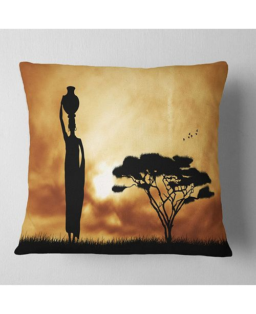 "Design Art Designart 'African Woman and Lonely Tree' African Landscape Printed Throw Pillow - 16"" x 16"""