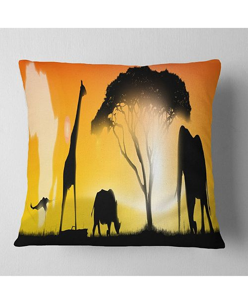"""Design Art Designart 'African Wildlife Panorama' African Throw Pillow - 16"""" x 16"""""""
