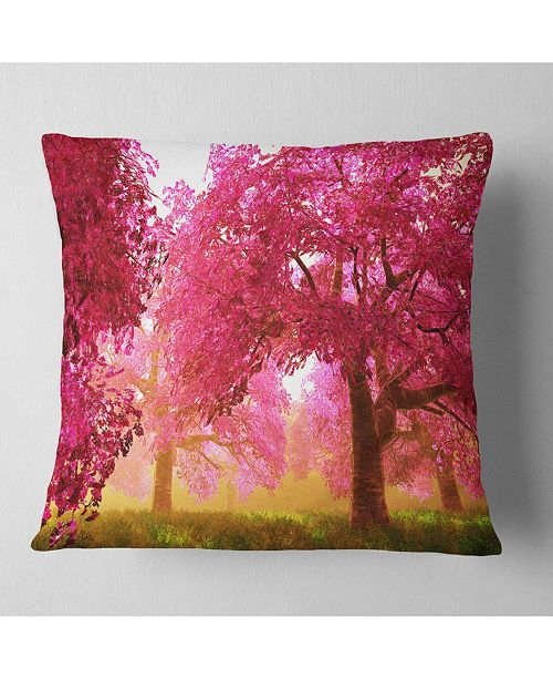 "Design Art Designart 'Mysterious Red Cherry Blossoms' Landscape Printed Throw Pillow - 16"" x 16"""