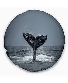 "Designart 'Large Humpback Whale Tail' Animal Throw Pillow - 20"" Round"