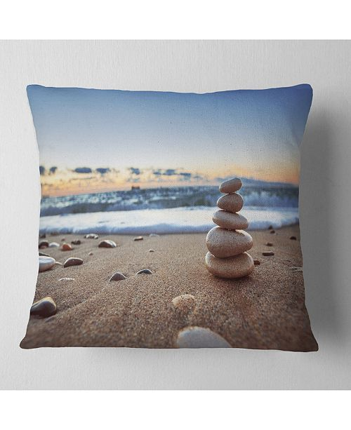 "Design Art Designart 'Stones Balance On Sandy Beach' Seashore Throw Pillow - 16"" x 16"""