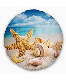 """Designart 'Starfish and Seashells On Beach' Seashore Photo Throw Pillow - 20"""" Round"""