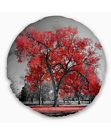 """Designart 'Big Red Tree On Foggy Day' Landscape Printed Throw Pillow - 20"""" Round"""