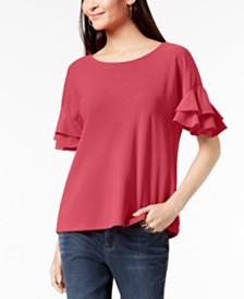 I.N.C. Petite Ruffled-Sleeve Top, Created for Macy's