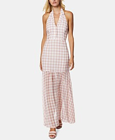 Gingham-Print Halter Maxi Dress