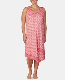 Plus-Size Printed Midi-Nightgown