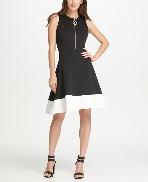 DKNY Logo Zipper Colorblock Fit & Flare Dress, Created for Macy's