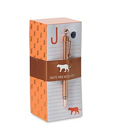 """J"" Note Pad with Pen Set"