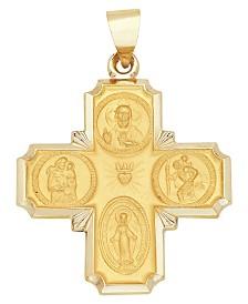 4-Way Medal Cross Pendant in 14k Yellow Gold