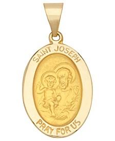 Saint Joseph Oval Medal Pendant in 14k Yellow Gold