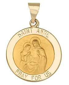 Saint Anne Medal Pendant in 14k Yellow Gold