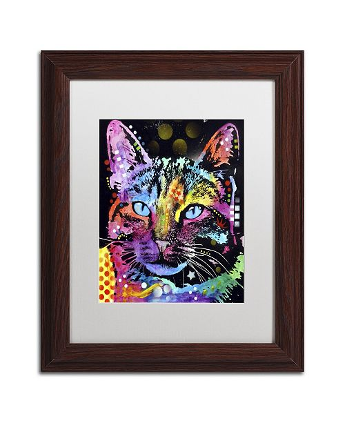 "Trademark Global Dean Russo 'Thoughtful Cat' Matted Framed Art - 14"" x 11"" x 0.5"""