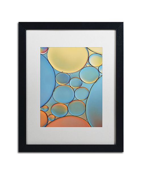 """Trademark Global Cora Niele 'Blue and Apricot Drops' Matted Framed Art - 16"""" x 20"""" x 0.5"""""""