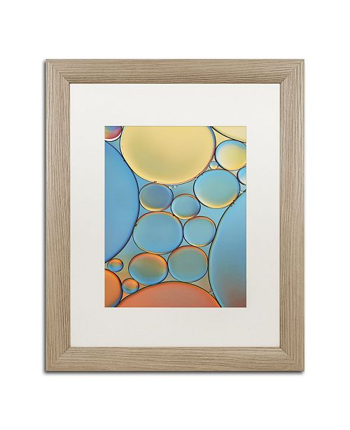 "Trademark Global Cora Niele 'Blue and Apricot Drops' Matted Framed Art - 20"" x 16"" x 0.5"""