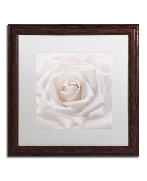 "Trademark Global Cora Niele 'Soft White Rose' Matted Framed Art - 16"" x 16"" x 0.5"""