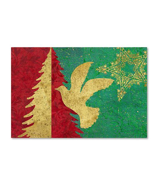 "Trademark Global Cora Niele 'Xmas Tree and Dove' Canvas Art - 19"" x 12"" x 2"""