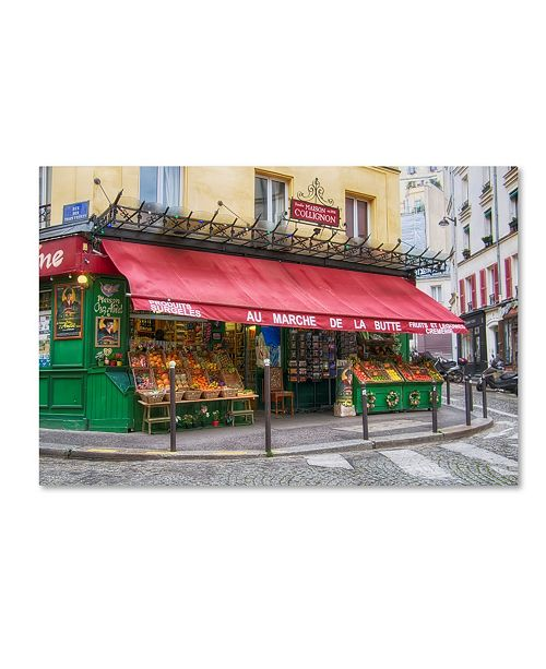 "Trademark Global Cora Niele 'Green Grocer In Paris' Canvas Art - 32"" x 22"" x 2"""