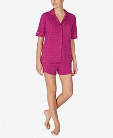 Logo Notch Collar Top and Boxer Shorts Pajama Set