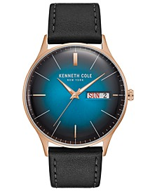 Men's Leather Strap with Ombre Dial with Day Date, 43MM