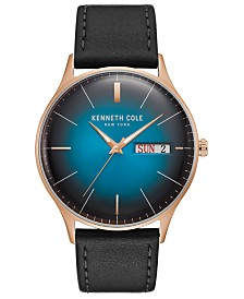 Kenneth Cole New York Men's Leather Strap with Ombre Dial with Day Date, 43MM