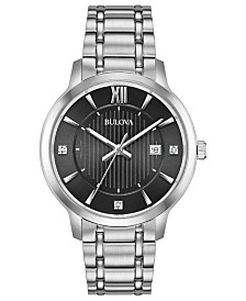 Bulova Men's Diamond-Accent Stainless Steel Bracelet Watch 40mm, A Macy's Exclusive
