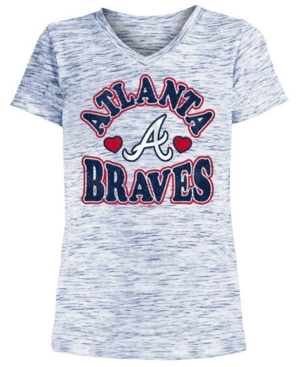 Image of 5th & Ocean Big Girls Atlanta Braves Spacedye T-Shirt