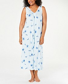 Plus Size Knit Lace-Trim Nightgown, Created for Macy's