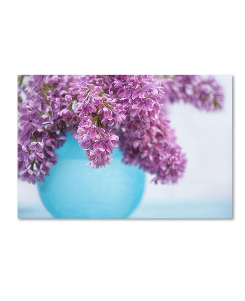 "Trademark Global Cora Niele 'Lilacs In Blue Vase Iii' Canvas Art - 47"" x 30"" x 2"""