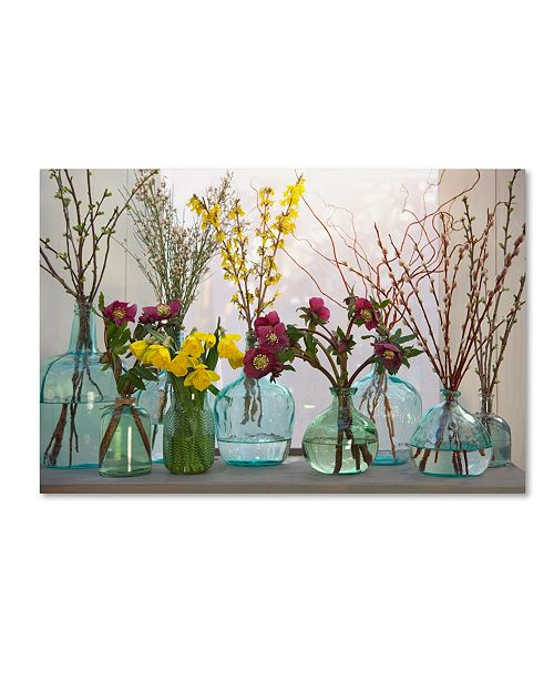 """Trademark Global Cora Niele 'Spring Flowers In Glass Bottles Iv' Canvas Art - 19"""" x 12"""" x 2"""""""