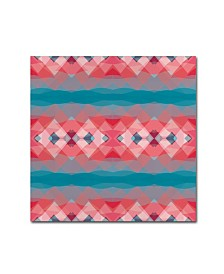 "Cora Niele 'Ethnic Pattern Red Blue' Canvas Art - 18"" x 18"" x 2"""