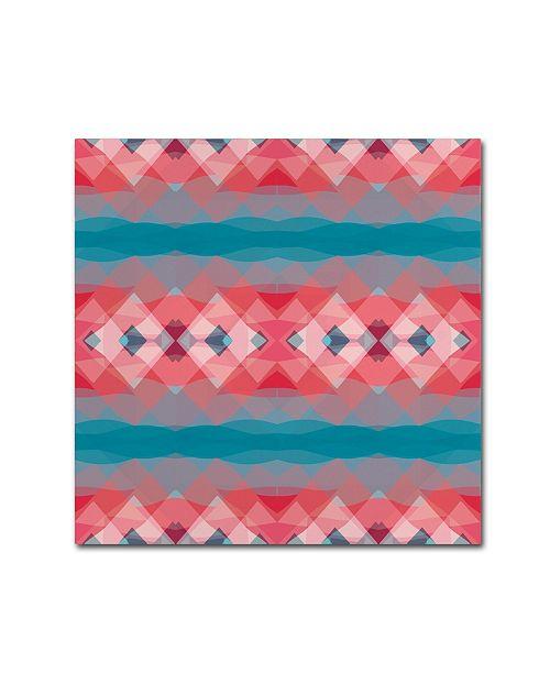 "Trademark Global Cora Niele 'Ethnic Pattern Red Blue' Canvas Art - 18"" x 18"" x 2"""