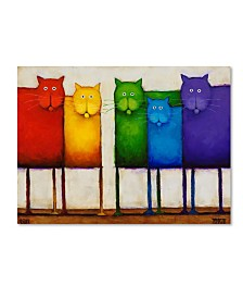 "Daniel Patrick Kessler 'Rainbow Cats' Canvas Art - 47"" x 35"" x 2"""
