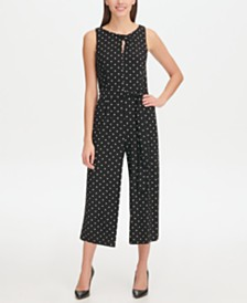 Tommy Hilfiger Jersey Dot Crop Jumpsuit