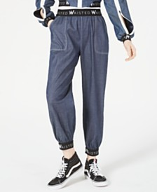Waisted Cotton Denim Jogger Pants