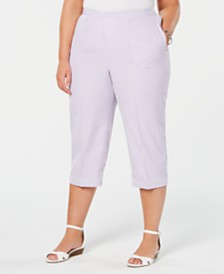 Alfred Dunner Plus Size Catalina Island Striped Lattice-Trim Pants