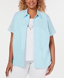 Alfred Dunner Plus Size Catalina Island Seersucker Layered-Look Shirt