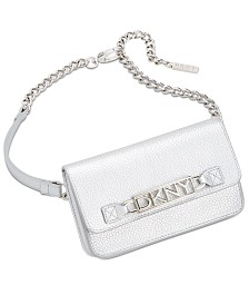 DKNY Logo-Plate Chain-Strap Belt Bag