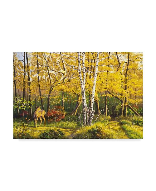 "Trademark Global D. Rusty Rust 'Whitetail Deer In Fall' Canvas Art - 24"" x 16"" x 2"""