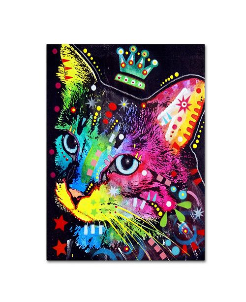 """Trademark Global Dean Russo 'Thinking Cat Crowned' Canvas Art - 19"""" x 14"""" x 2"""""""