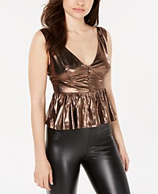 Venetia Metallic Peplum Top