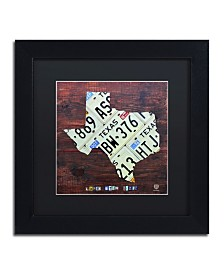 "Design Turnpike 'Texas License Plate Map Large' Matted Framed Art - 11"" x 11"" x 0.5"""