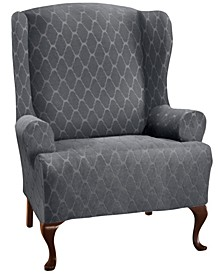 Stretch Sensations Stretch Ogee Slipcover for a Wing chair.