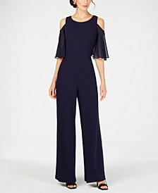 Cold-Shoulder Wide-Leg Jumpsuit
