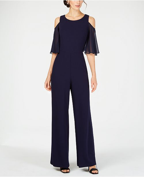 Connected Cold-Shoulder Wide-Leg Jumpsuit