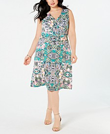 Plus Size Belted Fit & Flare Dress