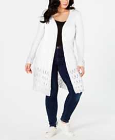 NY Collection Plus Size Lace-Bottom Cardigan