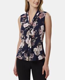 Tahari ASL Floral-Print Tie-Neck Blouse