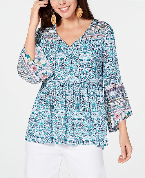 Style & Co Petite Printed Mesh Lantern-Sleeve Top, Created for Macy's