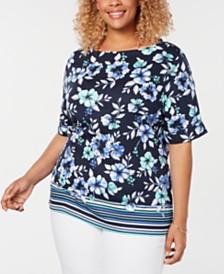 Karen Scott Plus Size Border-Print Boat-Neck Top, Created for Macy's
